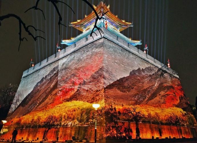 Новогоднее световое шоу в провинции Шэньси, Китай.