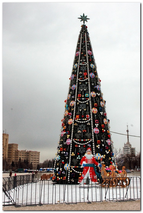На площади свободы начинается монтаж новогодних декораций