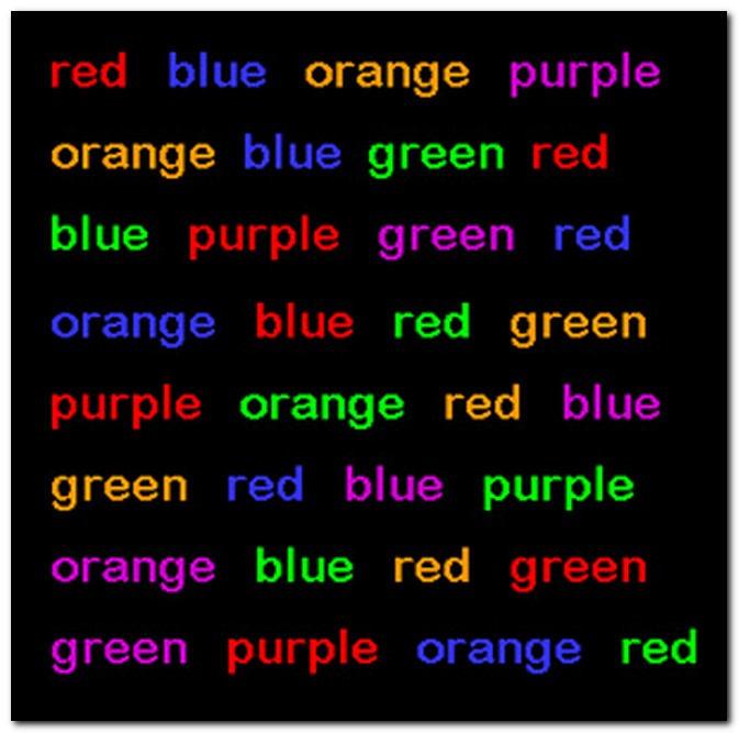 stroop effect report Abstract the stroop effect describes an experiment about the time it takes to name the color of printed words when you try to name the color in which color words are printed, it takes longer when the color word differs from the ink color than when the color word is the same as the ink color.